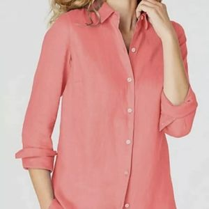 J. JILL Love Linen Essential Coral Button Shirt L